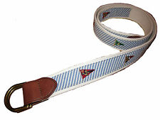 Polo Ralph Lauren Blue White Seersucker Sailing Flag Leather O Ring Belt XL