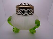Vintage loetz krakik vase corps opaque vert pieds laiton grenouille art glass