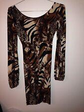 *SALE* UNALUNA Brn Blk Tiger Pnt Long Slv Dress Low V-Back Poly Spandex S (dj)