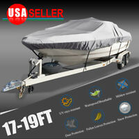 17-19Ft 600D Heavy Duty Waterproof Gray Boat Cover Fishing Ski V-hull Washable
