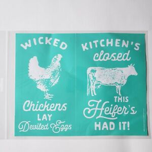 """Chalk Couture Transfer Wicked Chickens 8 1/2"""" x 11""""  Size B New Cow Farm Heifer"""