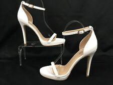 Boohoo Elizabeth Single Platform Two Part Open Toe Heel White Women's Sz US 8 5