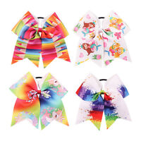 2 Pcs 7'' Girls Pencil Printed Cheer Bows Grosgrain Ribbon Elastic Hair Ties