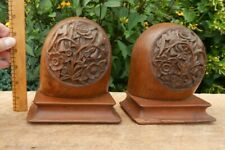 Antique Book Ends door stop DETAILED real wood Carved Black Forest Swiss Germany