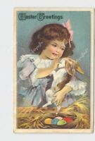 PPC POSTCARD EASTER GREETINGS GIRL HOLD BUNNY WHILE HUSHING SILVER EMBOSSED