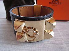 """brand NEW authentic HERMES """"Collier de Chien"""" CDC bracelet BLACK leather"""