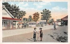 D54/ Russells Point Ohio Postcard Indian Lake c'10 New Cement Road Grocery Store