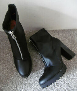 Black Zip Front Cleated Sole Heeled Boots Size UK 6 EU 39