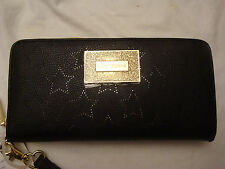 BETSEY JOHNSON PERFORATED STARS ZIP AROUND PASSPORT HOLDER WALLET/WRISTLET NWT
