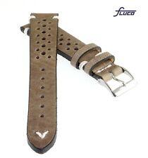 Fluco Vintage Rindleder Uhrenarmband Modell Hunter-Racing creme-beige 22/20 mm