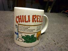 Ceramic10oz Coffee Cup Mug w Chili Relleno Recipe & Decorated with Chili Peppers
