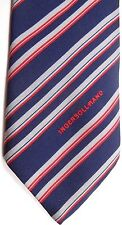 "Tootal Men's Vintage Poly Tie 54"" X 3"" Navy/Red/Silver British Stripes"