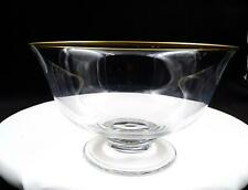 """PEILL & PUTZLER SIGNED CRYSTAL GOLD TRIM FLARED 7 1/4"""" FOOTED BOWL"""
