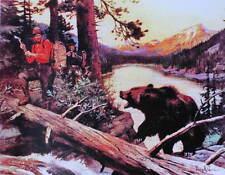 Hunters Bear encounter by Phillip Goodwin vintage art