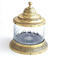 """Brass and Glass Jar with Lid 6 1/4""""H"""