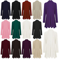 Womens Ladies Knitted Waterfall Boy Friend Long Sleeves Open Cardigan Top