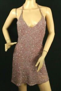Claudio Milano Women's Red Dress with Metallic Sequin Beaded Halter Size s