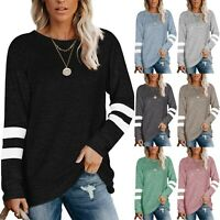 Womens Striped Long Sleeve Tops Sweatshirt Casual Pullover T Shirt Blouse Chic