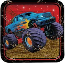 "Mudslinger Monster Truck Rally Kids Birthday Party 7"" Square Dessert Plates"