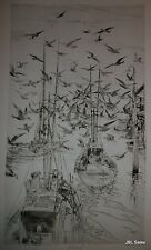 BOATS AND GULLS ETCHING BY JOHN W. WINKLER, MASTER ETCHER