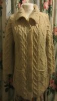 Vintage Cream Thick Knitted Aran Long Cardigan Size M