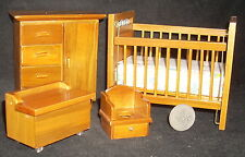 Walnut Nursery Set Crib Bureau Potty Chair Chest 1:12 #T0124 Children Baby Wood