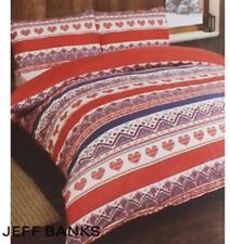 Jeff Banks Ports Of Call Brushed Cotton Red Double Duvet Set