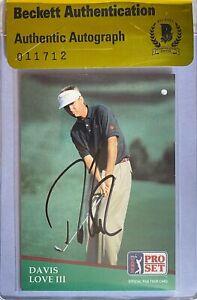 Davis Love III Signed 1991 Pro Set #105 Card Beckett BAS COA BGS PGA Tour Golf
