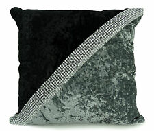 "Large Crush Velvet Diamante Two Tone Cushions Covers 17X17""or21""X21"" 7 Colors"