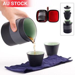 Portable Travel Tea Pot Set Chinese Kung Fu Ceramic Infuser Teapot Cups W/ Bag