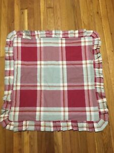 NOBLE EXCELLENCE Cotton 26x26 Red Green Plaid EURO SHAM Pleated  &  Rope Trim