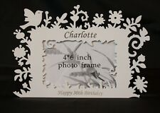 "Personalised Shabby Chic Photo Frames . Floral and bird style 6"" x 4"" metal"