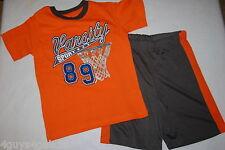 Boys Set Shorts Tee Shirt Orange Gray Varsity Sport Basketball Hoop Size 5-6
