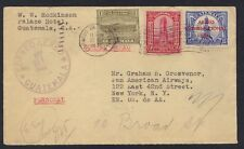 GUATEMALA US 1932 AIR MAIL WITH CORREOS AEREO SEAL 27.SET.1932 IN VIOLET TO N.Y.
