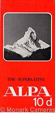 ALPA 10D Fotocamera vendite foglio dal 1968, più cataloghi e brochure elencati