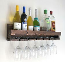 Woodymood Wine Rack, Glass Holder, Drink Shelf, Modern wall mounted wine shelf