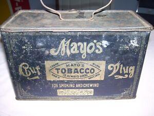 Vintage Antique Mayo's Cut Plug Tobacco Lunchbox Style Metal Tin Virginia