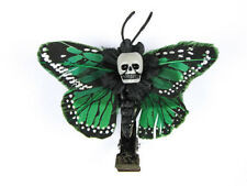 Hairy Scary Green Mini Kahlovera Skull Butterfly Feather Hair Clip
