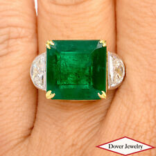GIA 11.05ct Green Emerald Diamond Platinum 18K Gold Classic Ring 10.0 Grams NR