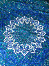 Colcha De Algodón Indio Tapiz Verde y Manta Cobertor étnico Estrella Azul Doble