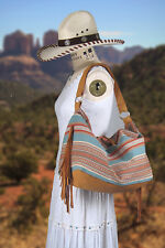 Handmade Turquoise Cotton Serape W Leather Fringe JUNIOR WEEKENDER BAG ON SALE!