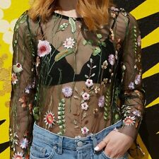 Women's Long Sleeve Floral Embroidered Transparent Lace Blouse Shirt O Neck HOT