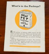 KELLOGG'S PEP BRAN FLAKES 1934 Advertising Booklet Fascinating Group of Facts