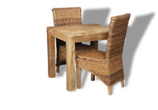 DINING ROOM FURNITURE DAKOTA 80CM DINING TABLE & 2 RATTAN CHAIRS (57L&2B1LR)