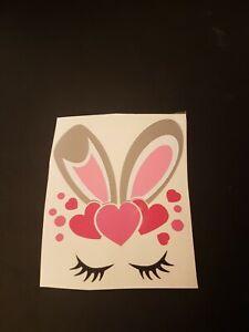 Bunny girl face ines VINYL DECALS easter children cups rabbit gift glitter bow