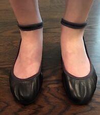 Lanvin Designer Mary Jane Leather Black Ballerina Flats Size 39-39.5