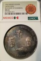 1963 MEXICO SILVER GROVE 824a RECOVERY OF CHAMIZAL NGC MS 65 HIGH GRADE SCARCE