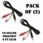 New Vaiyer 6FT 3.5mm AUX Plug to 2 RCA Male Plug Y Audio Stereo Cable - 2 Pack