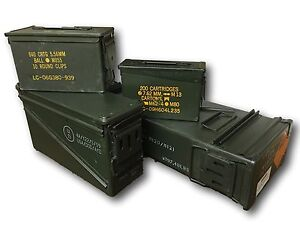 Genuine Military Steel Ammo Boxes, Stackable, tough, choice of sizes,more added
