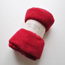 Red Micro Fleece Throw 150 x 200 cm Luxury Bedroom Bedspread Bedding Litecraft